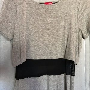 Grey dress that appears as a two piece.